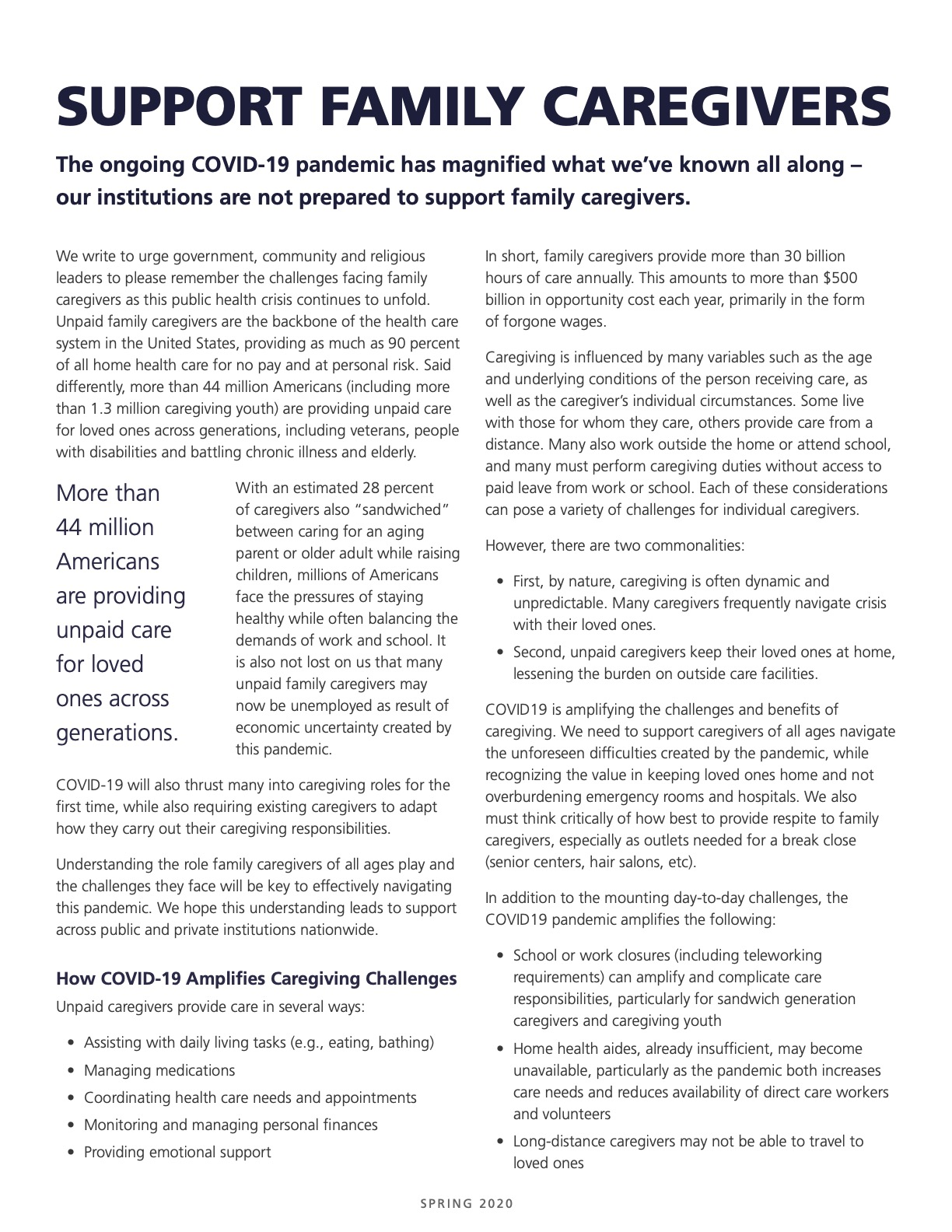 Caregiver COVID-19 Group Statement
