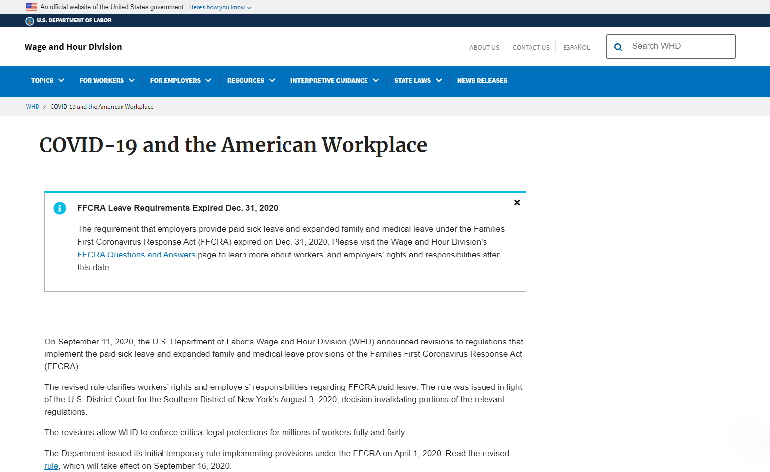 Department of Labor on COVID-19 & the American WorkPlace