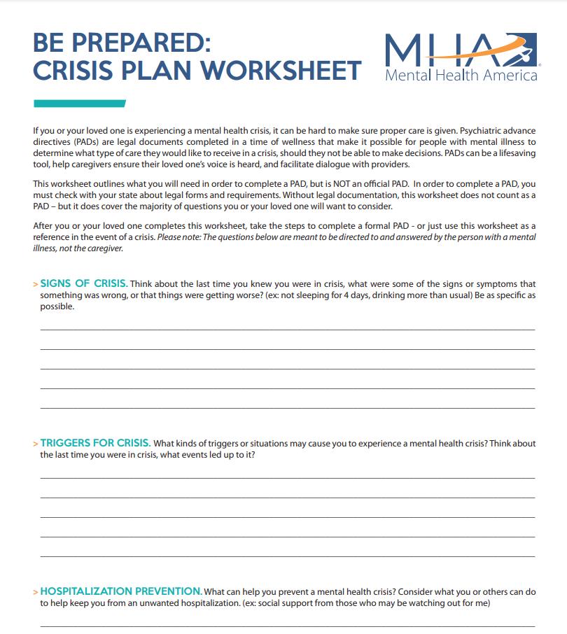 Mental Health Crisis Plan Worksheet