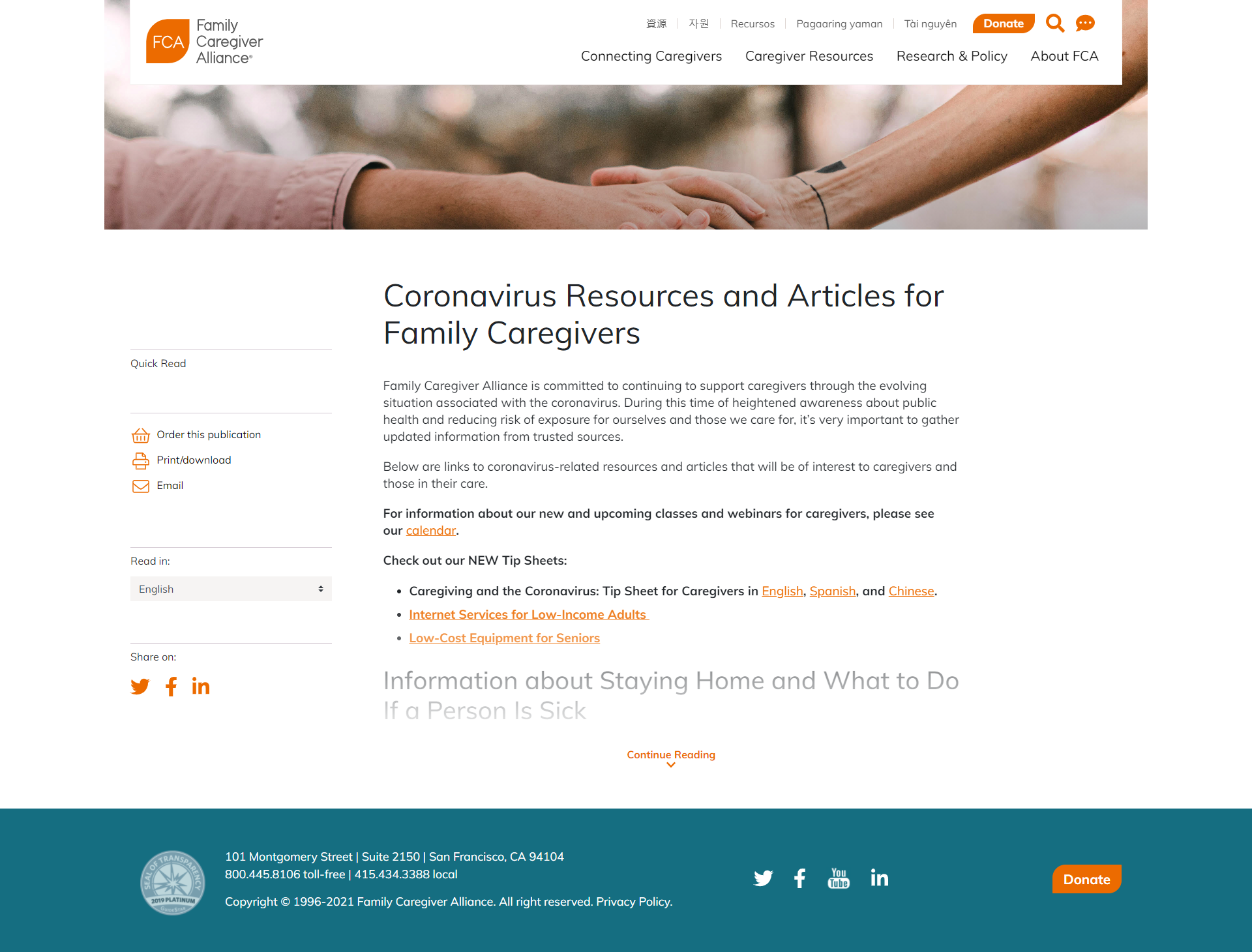 COVID-19 Resources & Articles for Family Caregivers